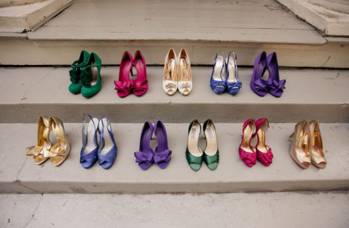 Colorful mix and match bridesmaid shoes