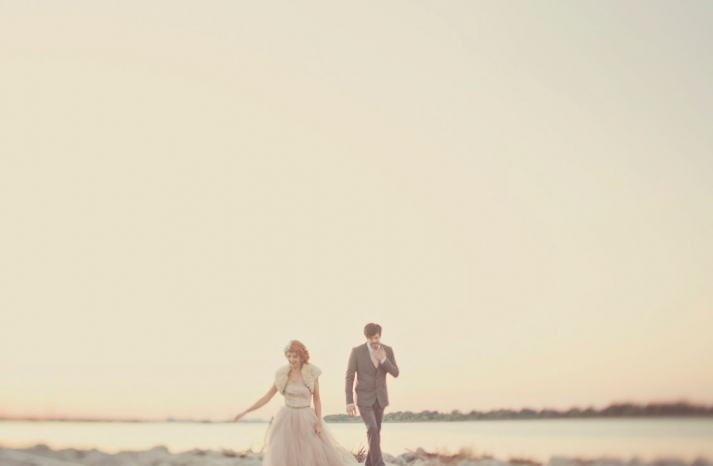 outdoor couples shot of retro bride and groom in California