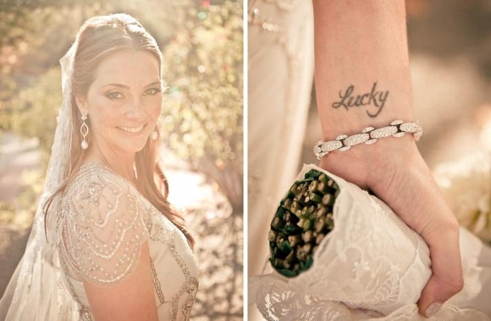 beautiful bride in cap sleeved beaded wedding dress