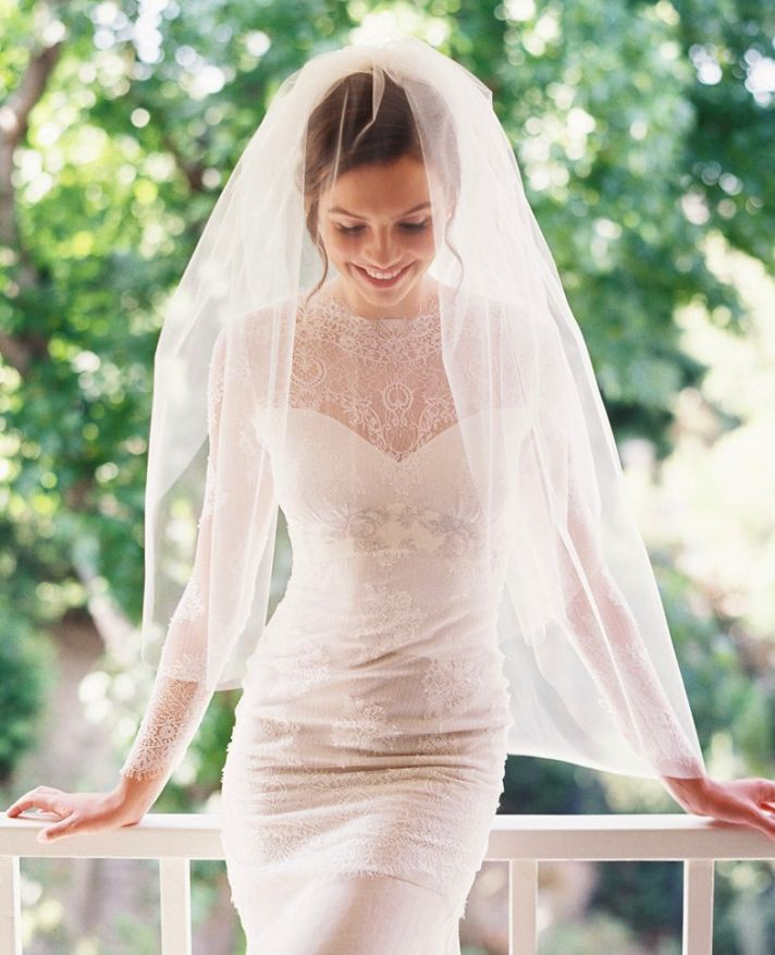 tulle and chantilly lace drop mantilla wedding veil