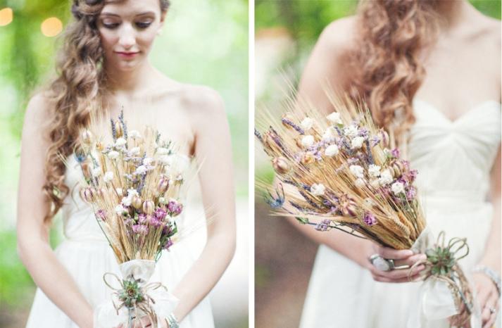 organic wedding bouquet for fall