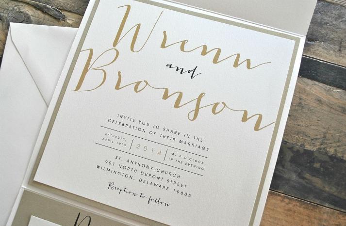 Elegant gold ecru and black wedding invitations