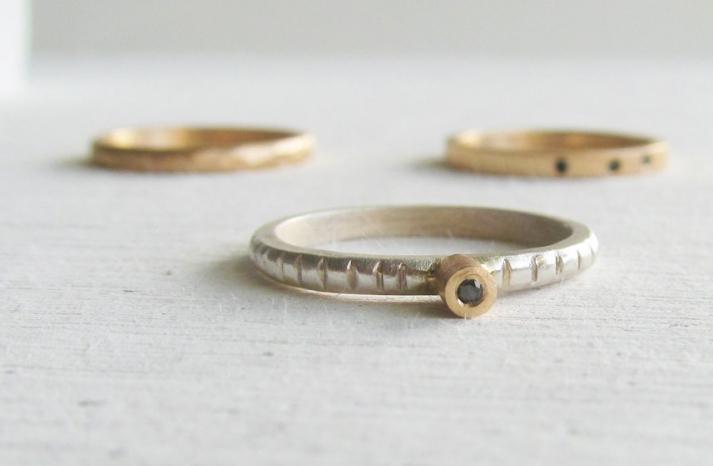 handmade wedding rings with black diamonds
