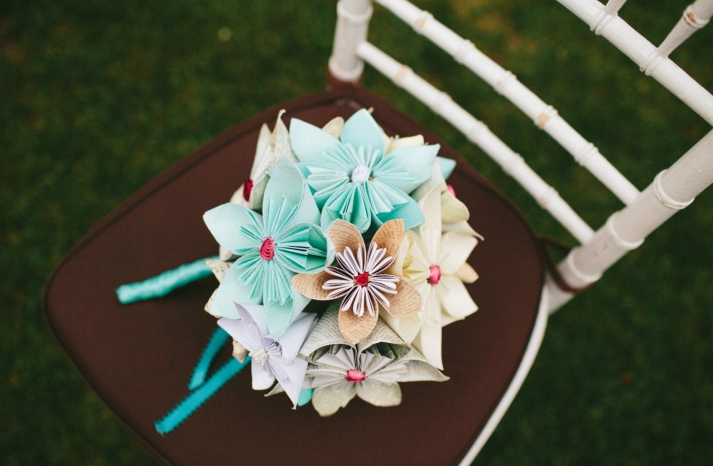 origami flower wedding bouquet in pale aqua beige and ivory