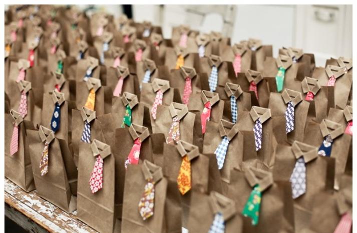 wedding favor bags with origami DIY ties