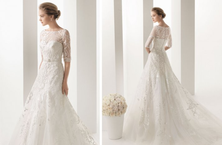Two by Rosa Clara lace sleeved wedding dress 2