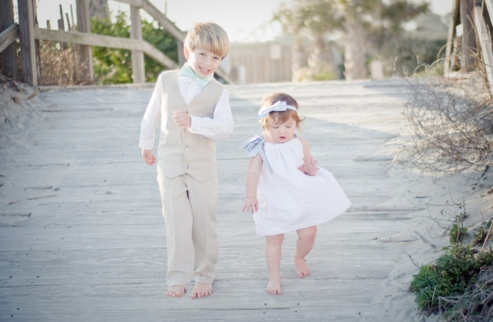 beach ring bearer and flower girl attire