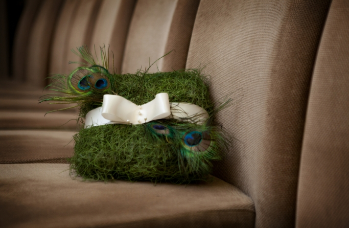 moss wedding ring bearer pillow with peacock feathers
