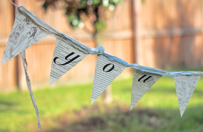 upcycled wedding bunting made from vintage book pages