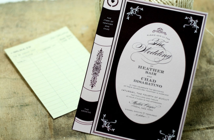 vintage book black and white wedding invitation