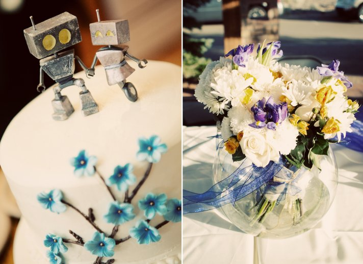 Tiny robot wedding cake toppers and DIY centerpieces