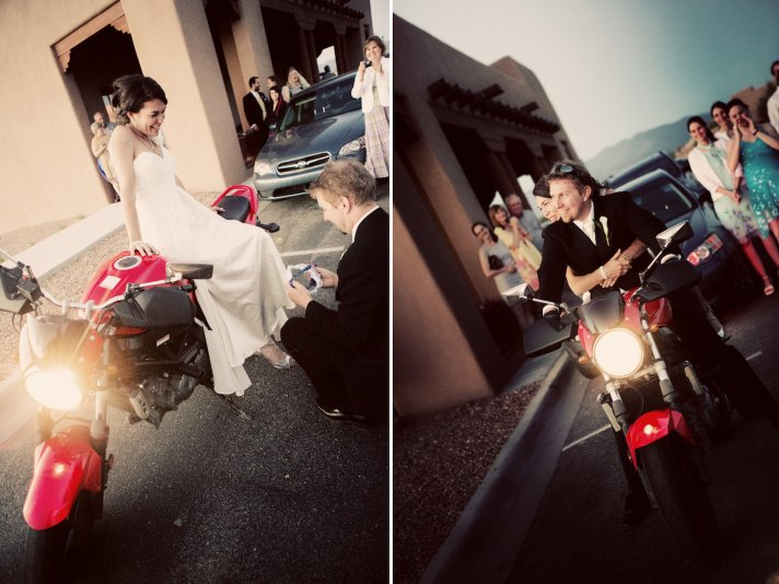 bride throws her bouquet before speeding away on a moped