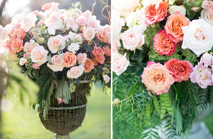 Romantic peach and blush wedding ceremony flowers