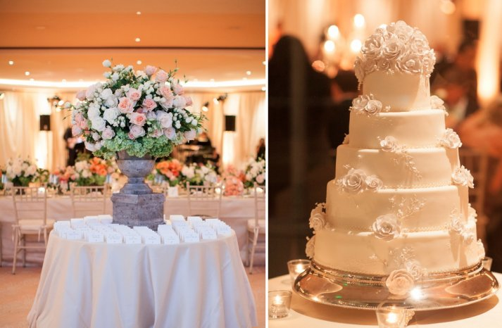 elegant tiered wedding cake and escort card display