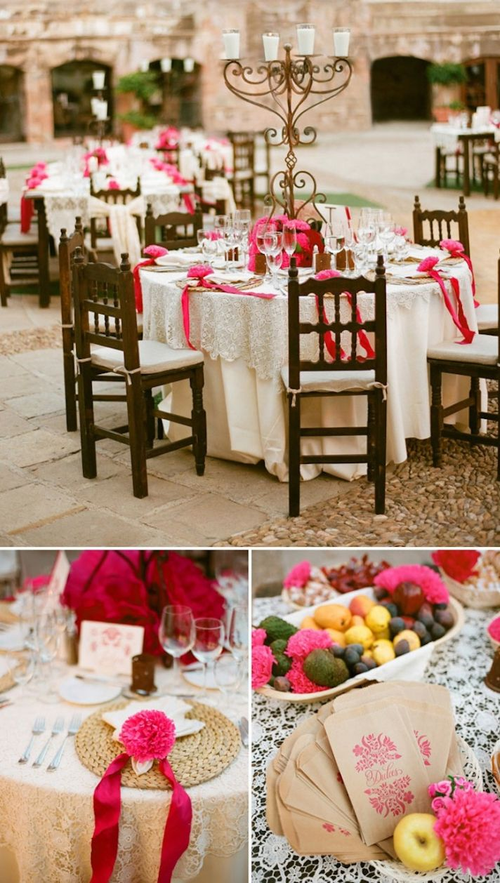 outdoor destination wedding reception hot pink and cream