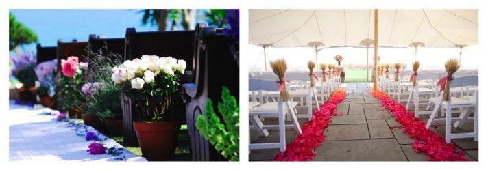 hot pink accents on ceremony aisle