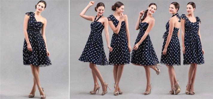 Polka dot convertible bridesmaid dress
