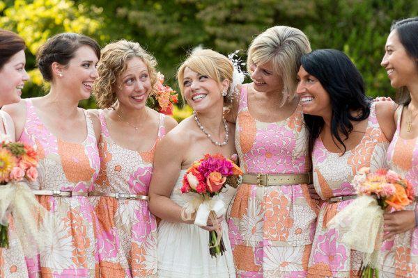 orange and pink floral bridesmaid dresses