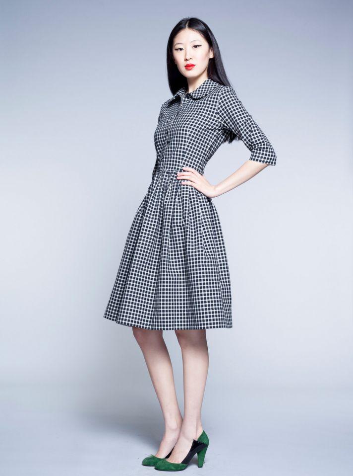black and white checkered bridesmaid dress