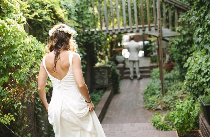 Bright summer wedding first look approach
