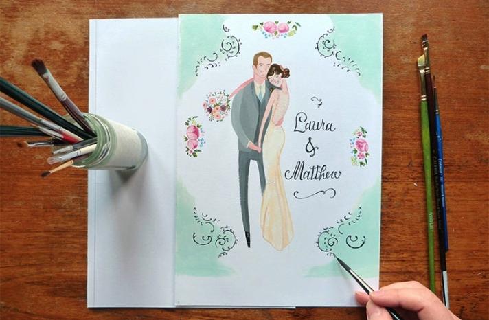 beautiful wedding illustrations and portraits 2