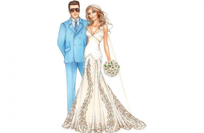 custom wedding illustration for Kate Moss