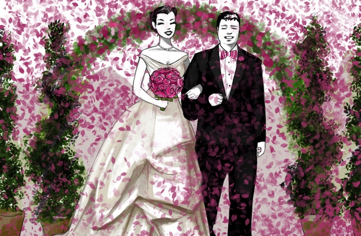 custom bride and groom illustration from the wedding ceremony