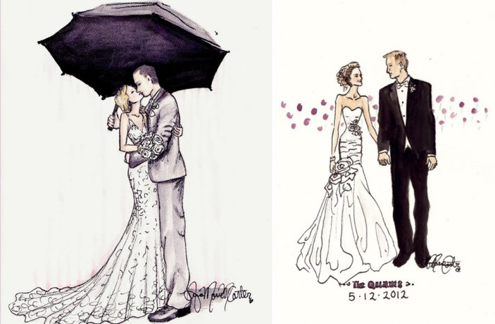 custom wedding sketches of the bride and groom