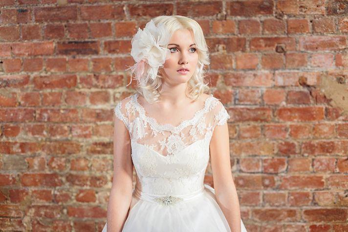 Lace illusion neckline tea length wedding dress