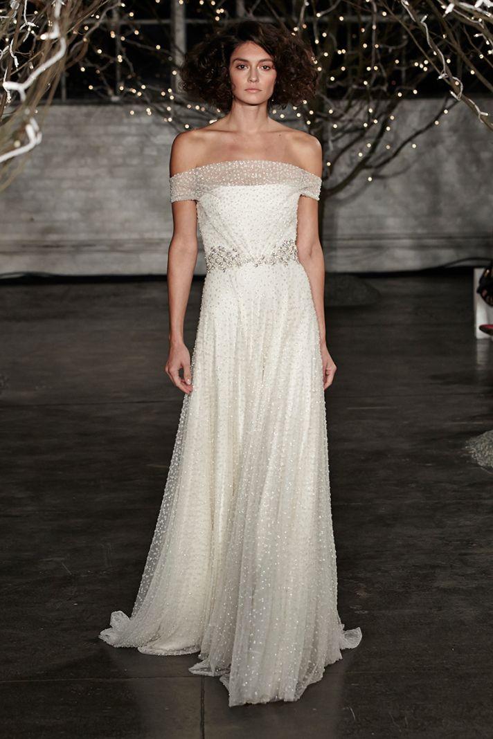 Jenny Packham Spring 2014 wedding dress with off the shoulder neckline