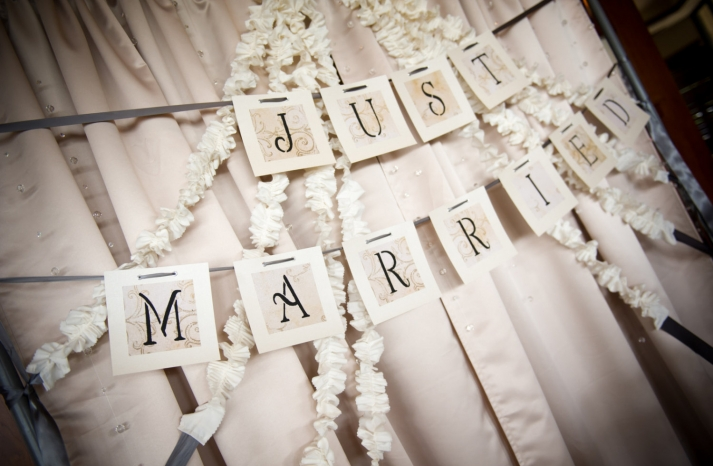 elegant wedding backdrop with crystals and ruffles