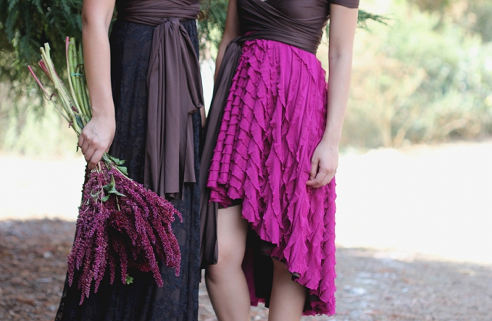 versatile wrap bridesmaids dresses with ruffled skirt