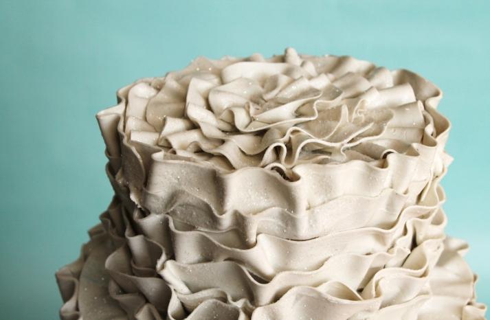 ecru glitter fake ruffle wedding cake