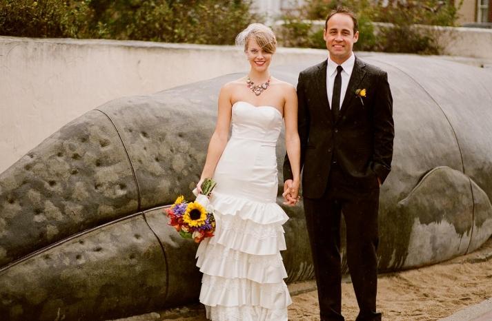 drop waist duchess satin wedding dress with ruffles