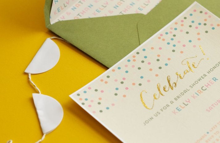 pastel with gold foil wedding invitation