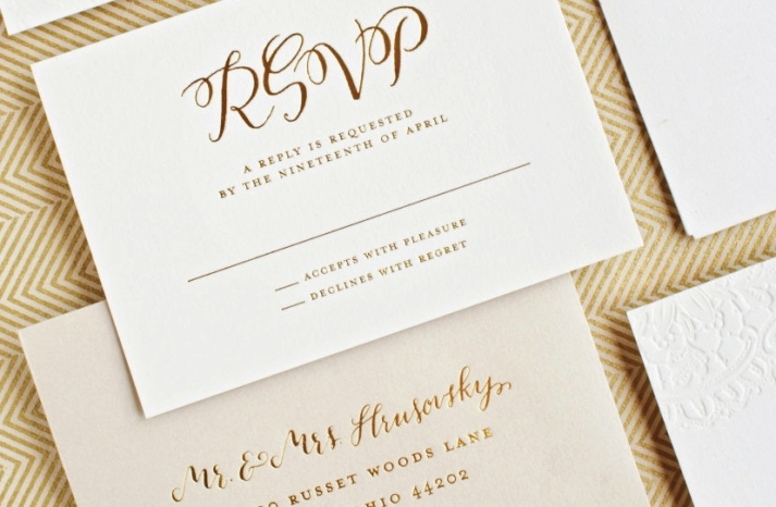 elegant gold foil on ivory letterpress wedding rsvp