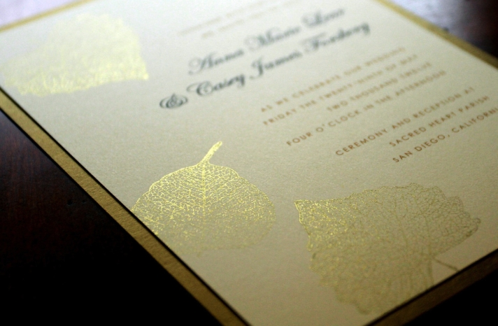 elegant gold foil falling leaves wedding invite