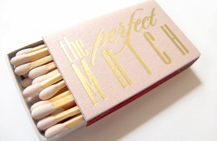 Blush and gold match box wedding favors