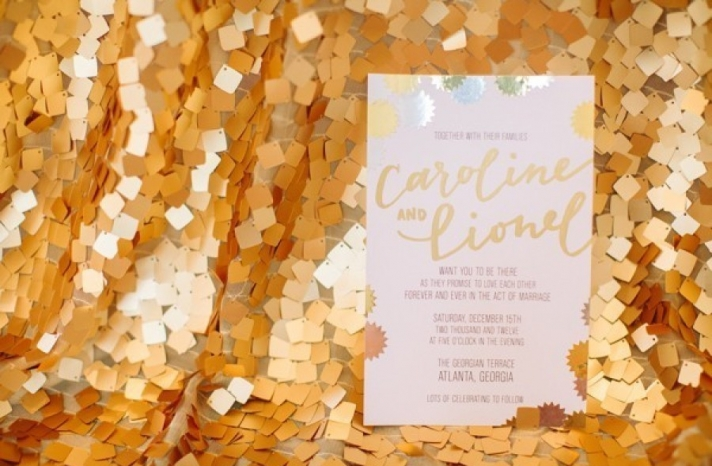whimsical gold and pastel wedding invitations