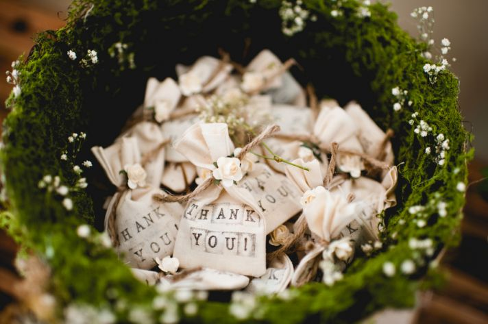 Rustic Elegant Wedding Mossy Favors Basket
