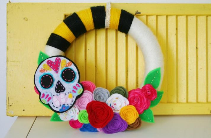 handmade wedding wreath for Day of the Dead weddings