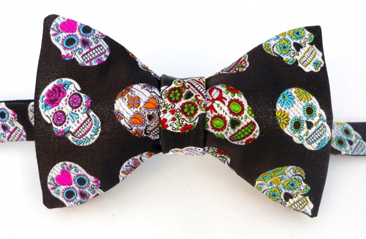 black and colorful bow tie for Day of the Dead grooms