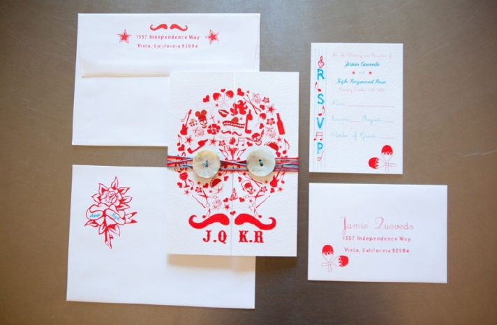 Bright white red aqua wedding invitations for Day of the Dead theme