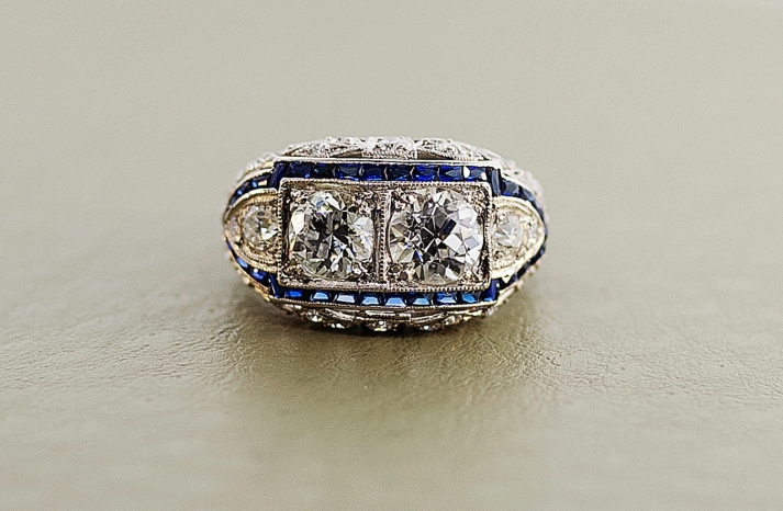 1920s art deco engagement ring with diamonds and sapphires
