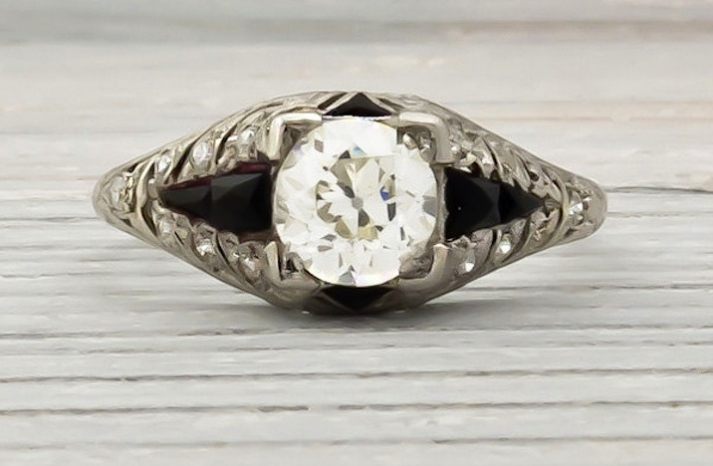 1920s art deco engagement ring with diamonds and onyx