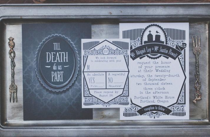 vintage gothic wedding invitation suite