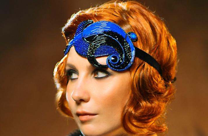 cobalt and black wedding headpiece