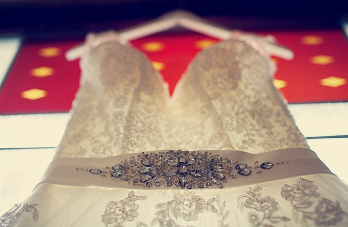 beautiful wedding photo of lace corset wedding dress and sash