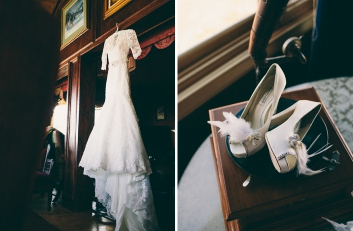 Portland real wedding lace bridal gown and feather adorned heels