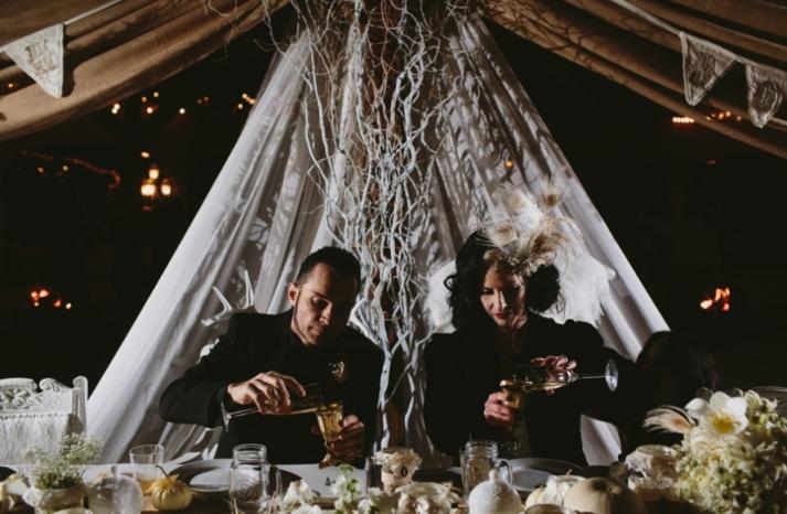Portland real wedding bride and groom at head table